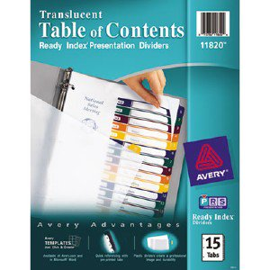 Ready Index Translucent Table Of Content Dividers